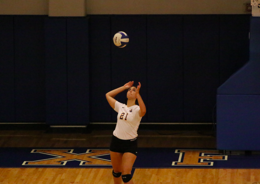 Senior Haley Caradine serves the ball against Corinth.