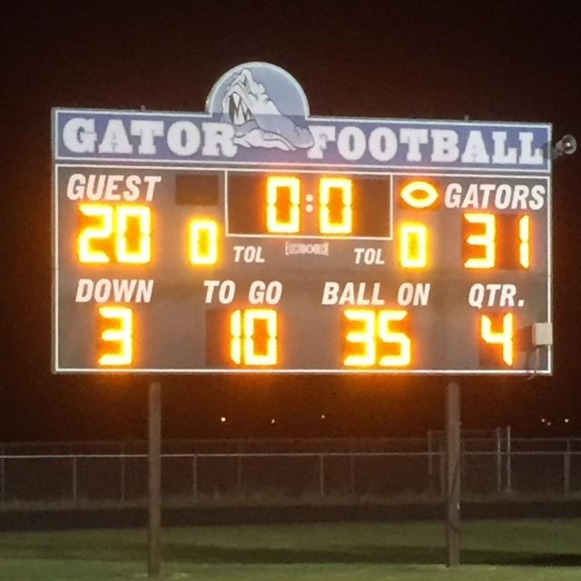 The scoreboard at Lake Cormorant High School hits zero, reflecting the game's outcome.
