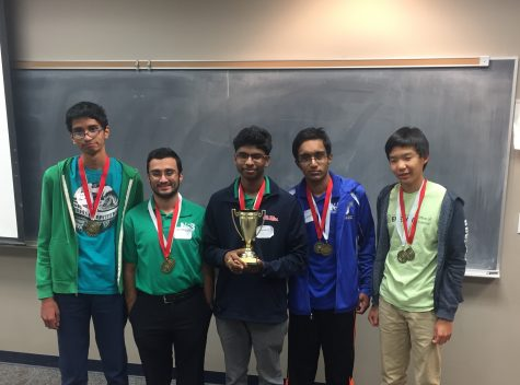 Left to right: Junior Anish Ravishankar, junior Shahbaz Gul, senior Nitin Ankisetty, junior Isuru Hewamanna, and freshman Edward Hu of the Science Bowl team pose with their trophy and medals after the Mississippi Regional Science Bowl competition on Feb. 17.