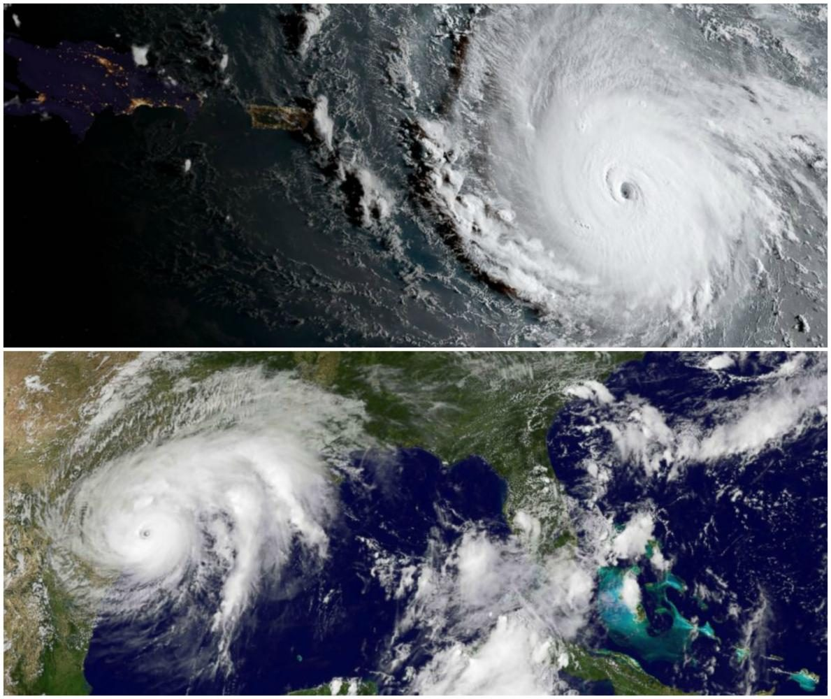 Satellite pictures of Harvey and Irma show the magnitude of the storms. The two storms could cost 290 billion dollars total in damages.