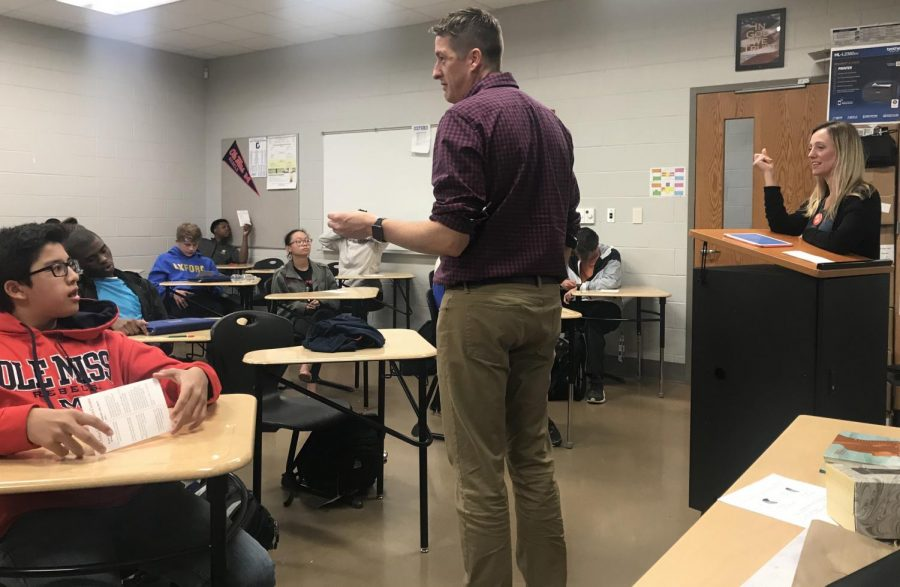 Brian Whisenant speaks to health teacher Stan Robertson's 4th period health class about drug and alcohol abuse prevention.