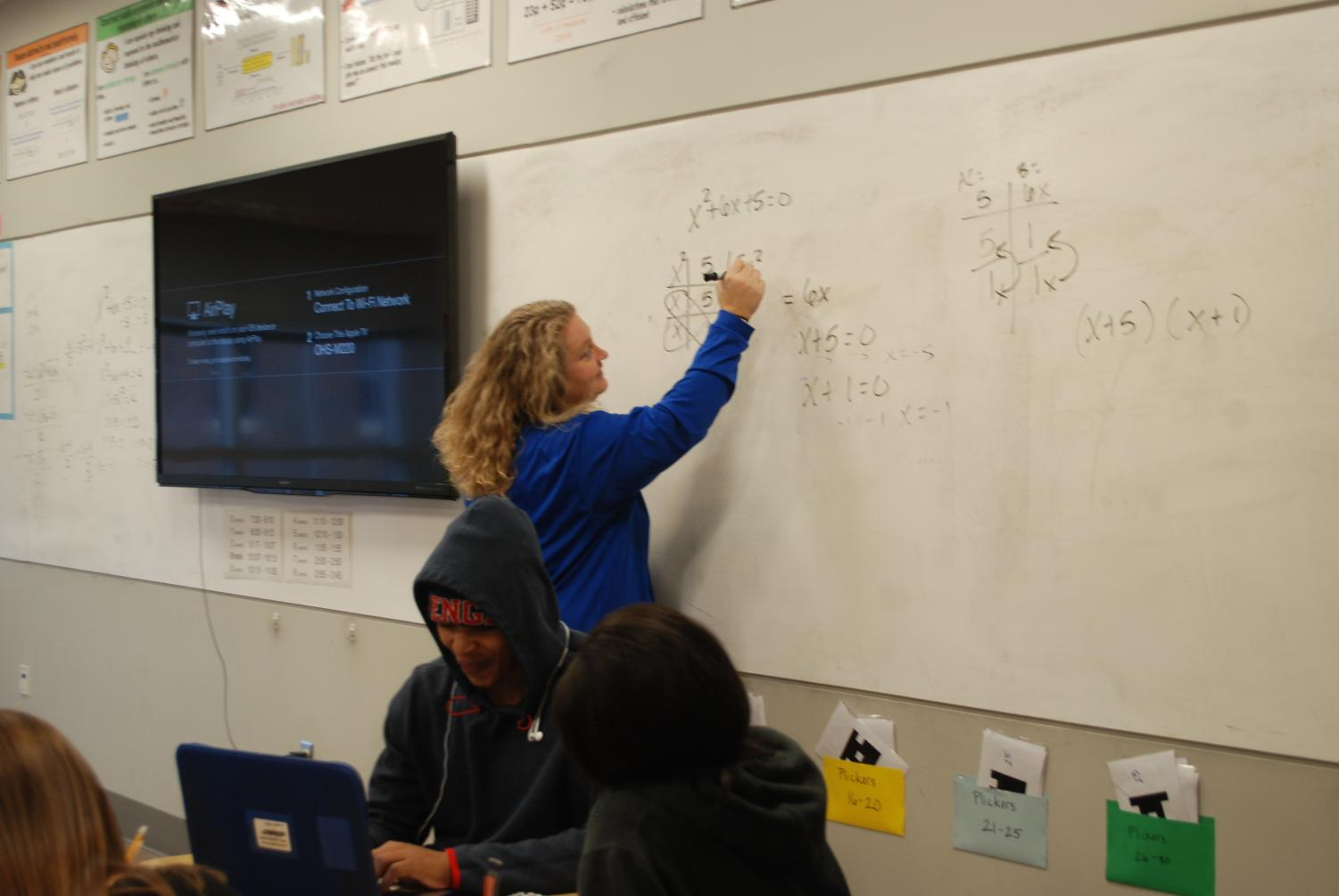 Tabitha Beard teaches Algebra 2 students. She took over the class after Allison Wally got the new position of OSD's business manager.