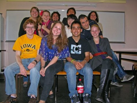 French teacher Chelsea Shaffer takes a picture with her French students at Université de Pau in 2012. Shaffer made many trips to France and lived in Pau, Rouen and Argentan.