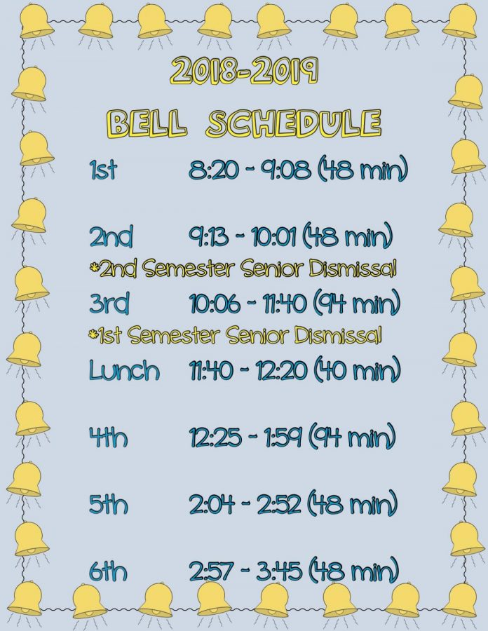 Students will follow this new schedule for classes next school year.