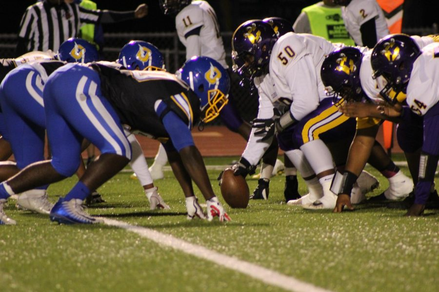 The Chargers defensive lines up against the Columbus offensive line during last year's line up. The Chargers beat Columbus last week and won against the Hernando Tigers last year with a score of 15-6.