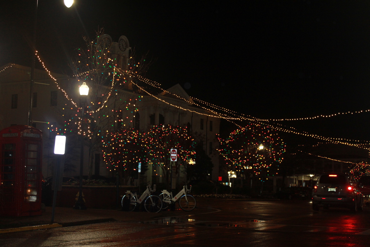 Lights adorn the Square in Oxford, Miss. Mayor Robyn Tannehill brought back old Oxford tradition of having Christmas lights on the Square this year.