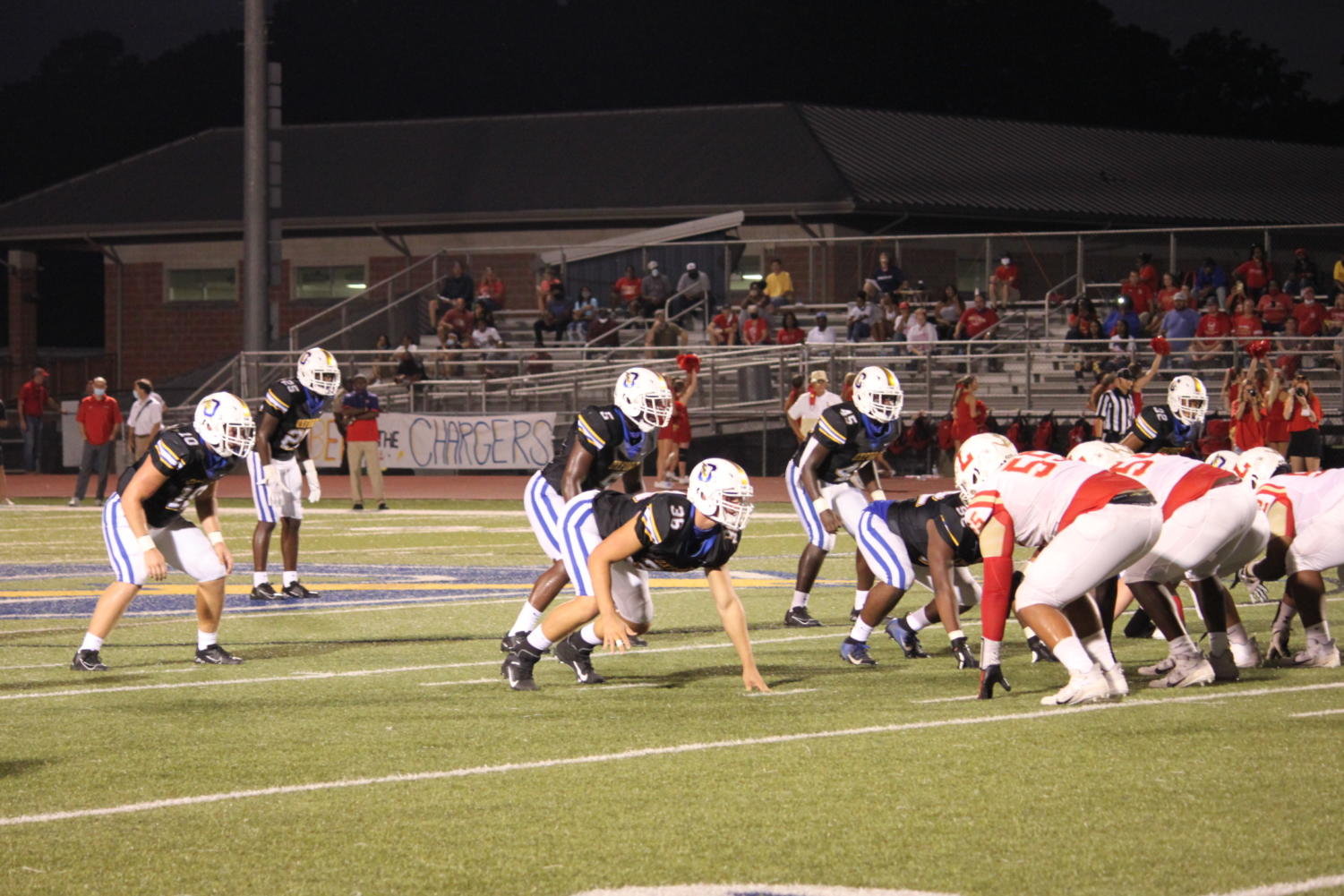 The Chargers line up against the Lafayette Commodores in last years Crosstown Classic, which took place on Friday, September 11, 2020. The Chargers won the game 33-22.
