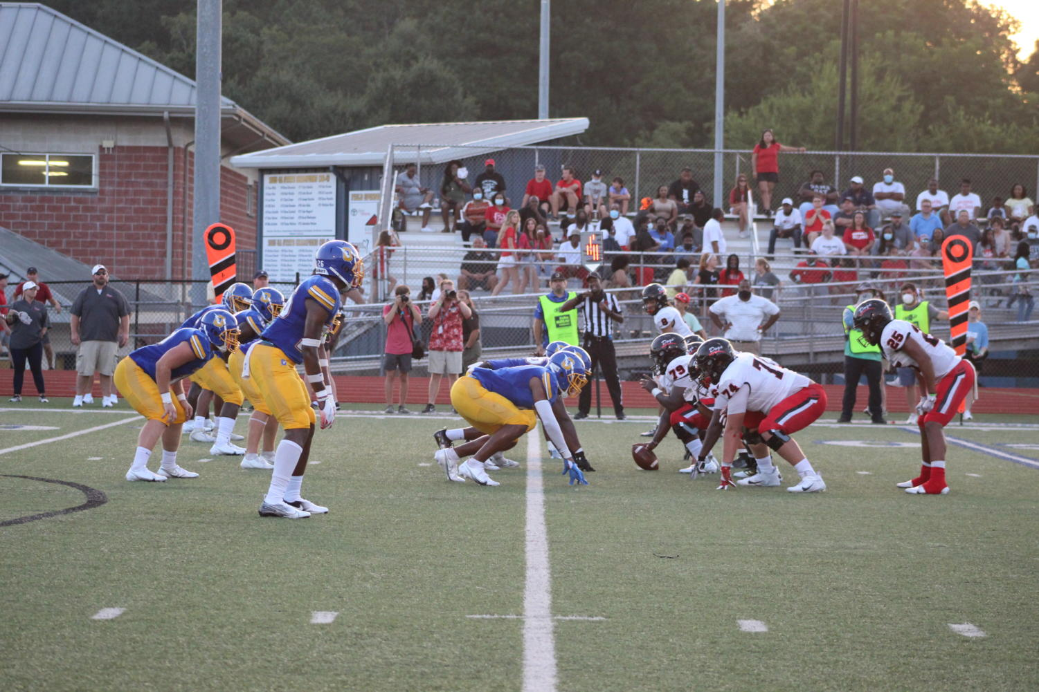The Chargers prepare for a play against the Brandon Bulldogs on August 27. The Chargers won the game 24-17.