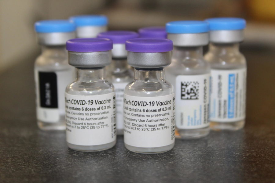 Pfizer vaccine vials sit atop a table at Oxford Rx, a newly opened pharmacy in the town of Oxford.