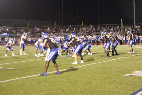The Chargers prepare for a play against Tupelo on Friday, October 1. The Chargers upset the previously undefeated Tupelo Golden Wave 22-6.