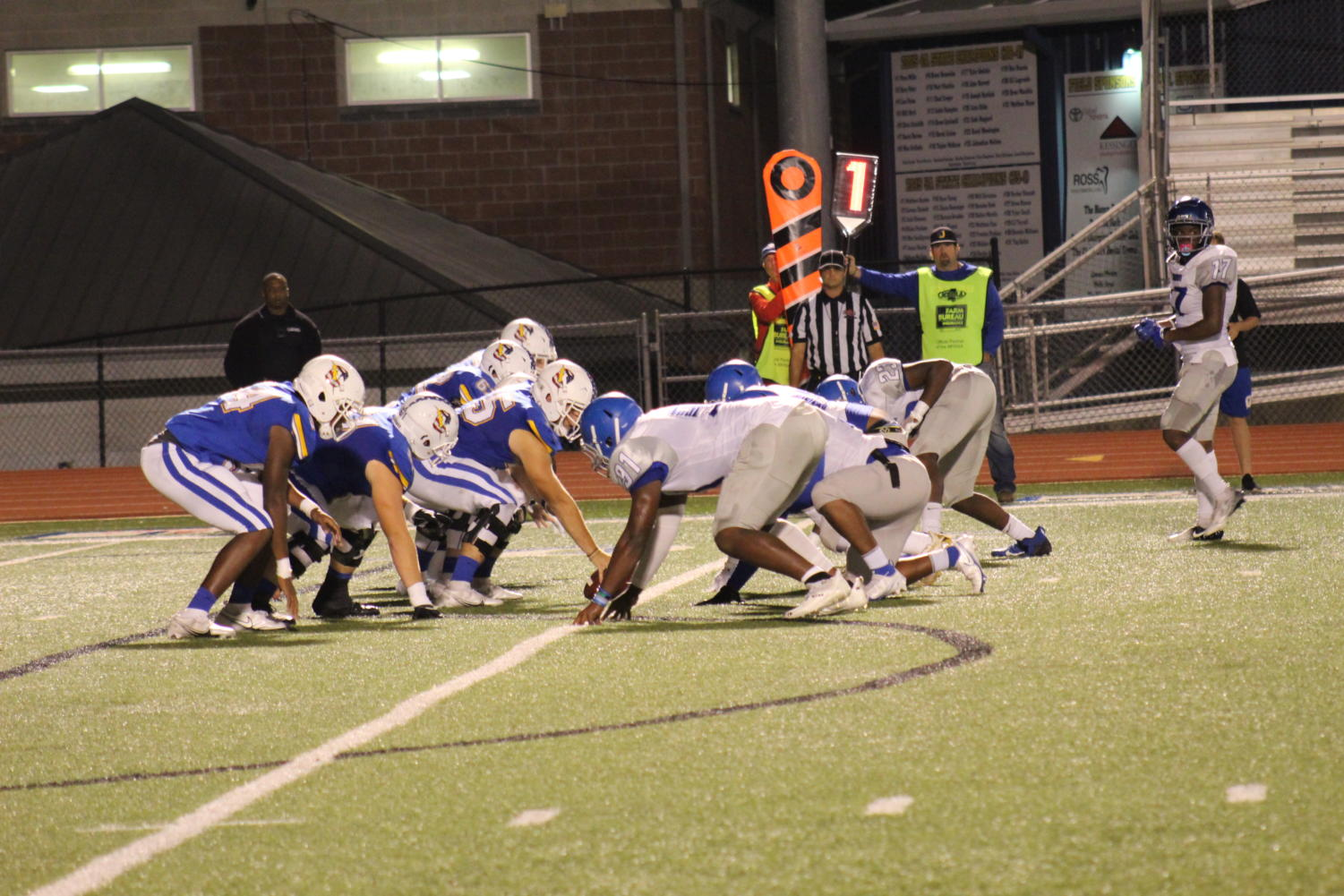 The Chargers prepare for a play against the Murrah Mustangs during the homecoming game. Oxford won the game 38-0.